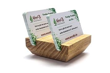 Woodbi Visitenkartenständer Aus Holz Roserne Akazie Visitenkartenhalter Aus Holz Für Bis Zu 30 Visitenkarten Handmade In Germany Schmal
