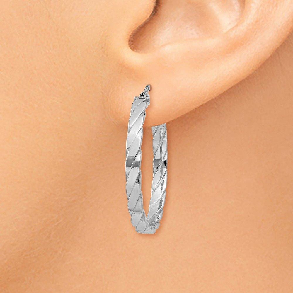 Mia Diamonds 14K White Gold Patterned Hoop Earrings