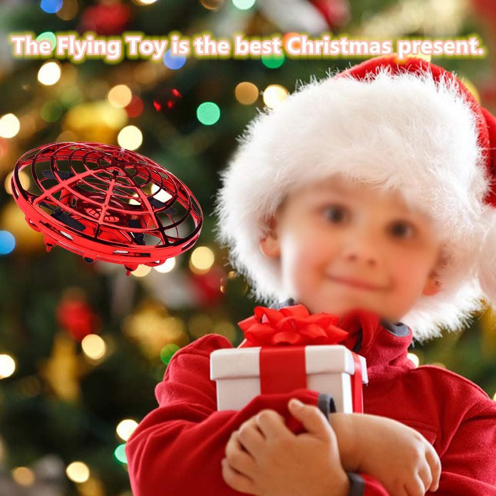 PerfectPromise UFO Flying Toys for Kids, Hand Controlled Mini Drone UFO Toy with 360° Rotating and LED Lights for Children Boys Girls---Red by PerfectPromise (Image #7)