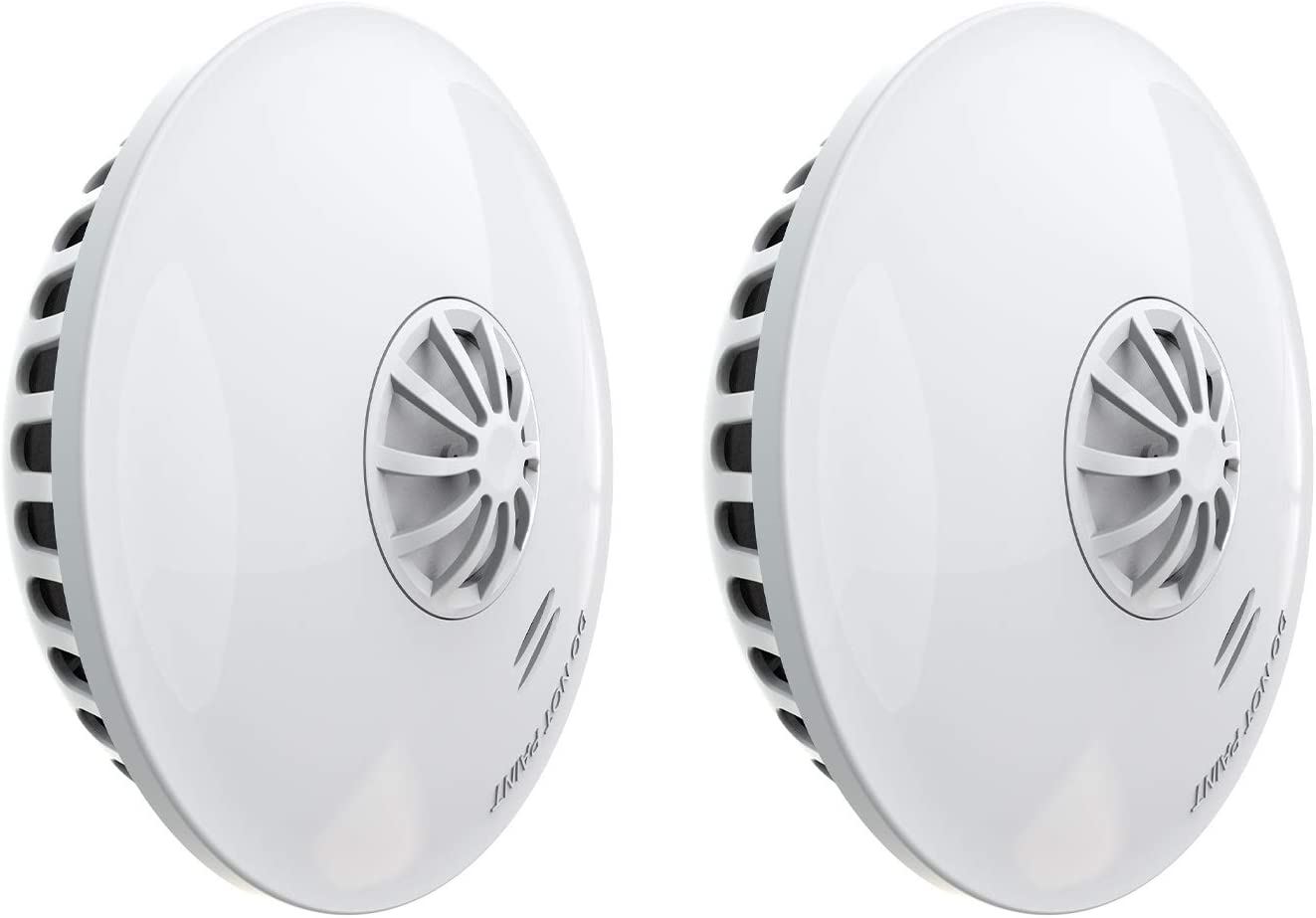 Ecoey Heat Smoke Detector Battery, Smoke and Heat Alarm with Test Button, 10 Year Battery for Home Bedroom and Kitchen, FJ192,2 Packs