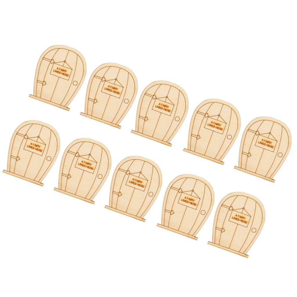 LOVIVER 6 Stellte Einfaches H/ölzernes 3D Runde Feenhafte T/ürform Fertigkeitsverzierungen Dekor DIY EIN 12pcs Hufeisen 8 x 9cm