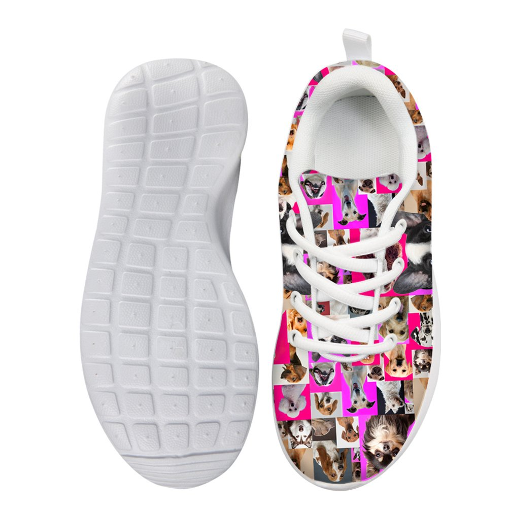 HUGS IDEA HUGSIDEA Pet Dog Print Kids Mesh Breathable Sneaker Fashion Running Shoes For Girls by HUGS IDEA (Image #3)