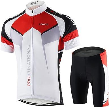 Lixada Maillots de Ciclismo Hombres Camiseta y Pantalones Cortos de Ciclismo Conjunto de Ropa para Ciclismo al Aire Libre: Amazon.es: Ropa y accesorios