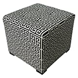 Sole Designs Contemporary Towers Design Merton Collection Black Button Tufted Upholstered Square Ottoman