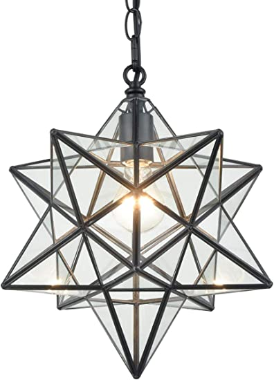 16'' Large Moravian Star Pendant Light Clear Glass Hanging Star Lights on Chain
