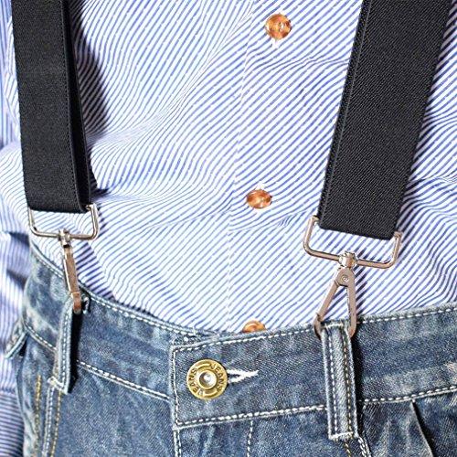 Bretelle Casual 4 X Kaki Clips Homme Pantalon Yiyilai Jeans Avec Bande Chic Ceinture En Forme dc78T6qF