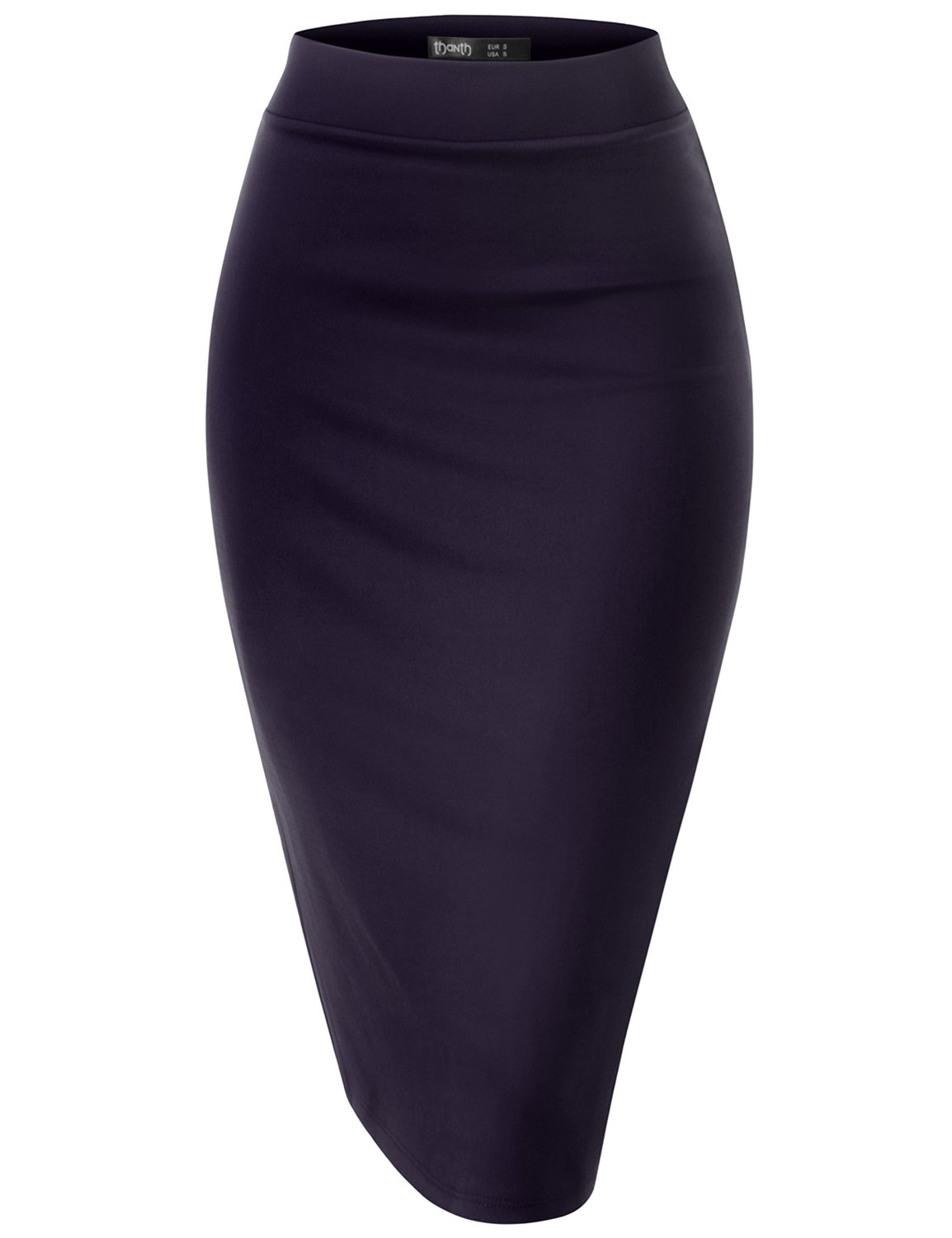 TWINTH Slim Vintage Pencil Skirts Below Knee Skirt Navy Xxx-Large