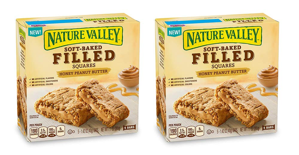 Nature Valley Soft Baked Filled Squares Honey Peanut Butter, 5 Bars (2 Boxes)