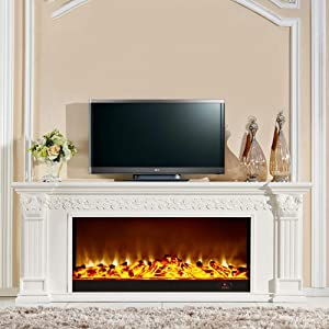 HWLG Fireplace TV Stands,Modern 3D Electric Fire Realistic LED Flame Effect Fireplace 750/1500W 7 Day 24hr Timer and Remote Control Wooden TV Cabinet with Fireplace core, Fake Fireplace,777