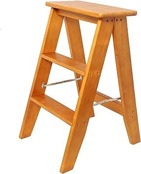 Escalera plegable de 3 pasos en madera Taburete Taburete escalera portátil taburete clásico escalera taburete escalera minimalista Estable: Amazon.es: Bricolaje y herramientas