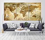 Vintage World Map Canvas Print for Home Decoration and Living Room Decor, Extra Large World Map Push Pin Wall Art for Office Interior and Decor - Ready to Hang