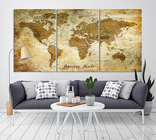 Vintage World Map Canvas Print for Home Decoration and Living Room Decor, Extra Large World Map Push Pin Wall Art for Office Interior and Decor - Ready to Hang (Prints Triptych Canvas)