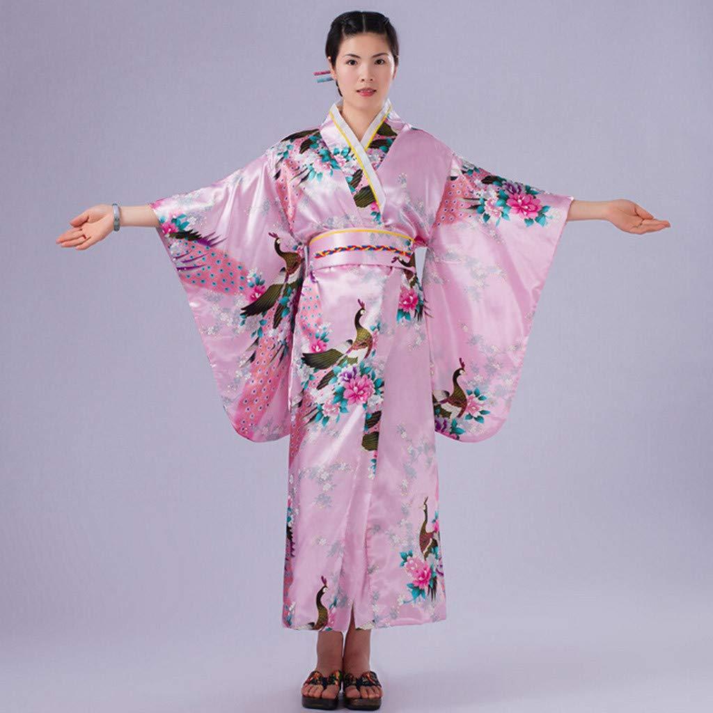Ultramall Women's Print Kimono Robe Traditional Japanese Dress Photography Cosplay Costume(Pink,One Size) by Ultramall (Image #3)