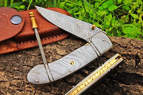 (6 7/18) DKC-96 ZORIAN Damascus Folding Pocket Knife 4.75' Folded 8.25 Open