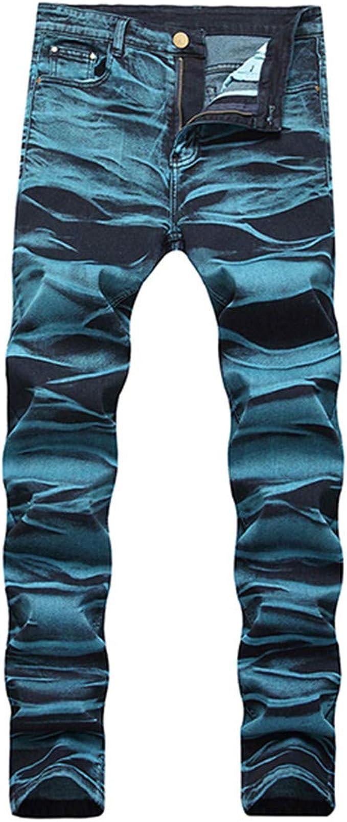 LETMAYPEO Pantalones Vaqueros Pintados a la Moda para Hombre ...