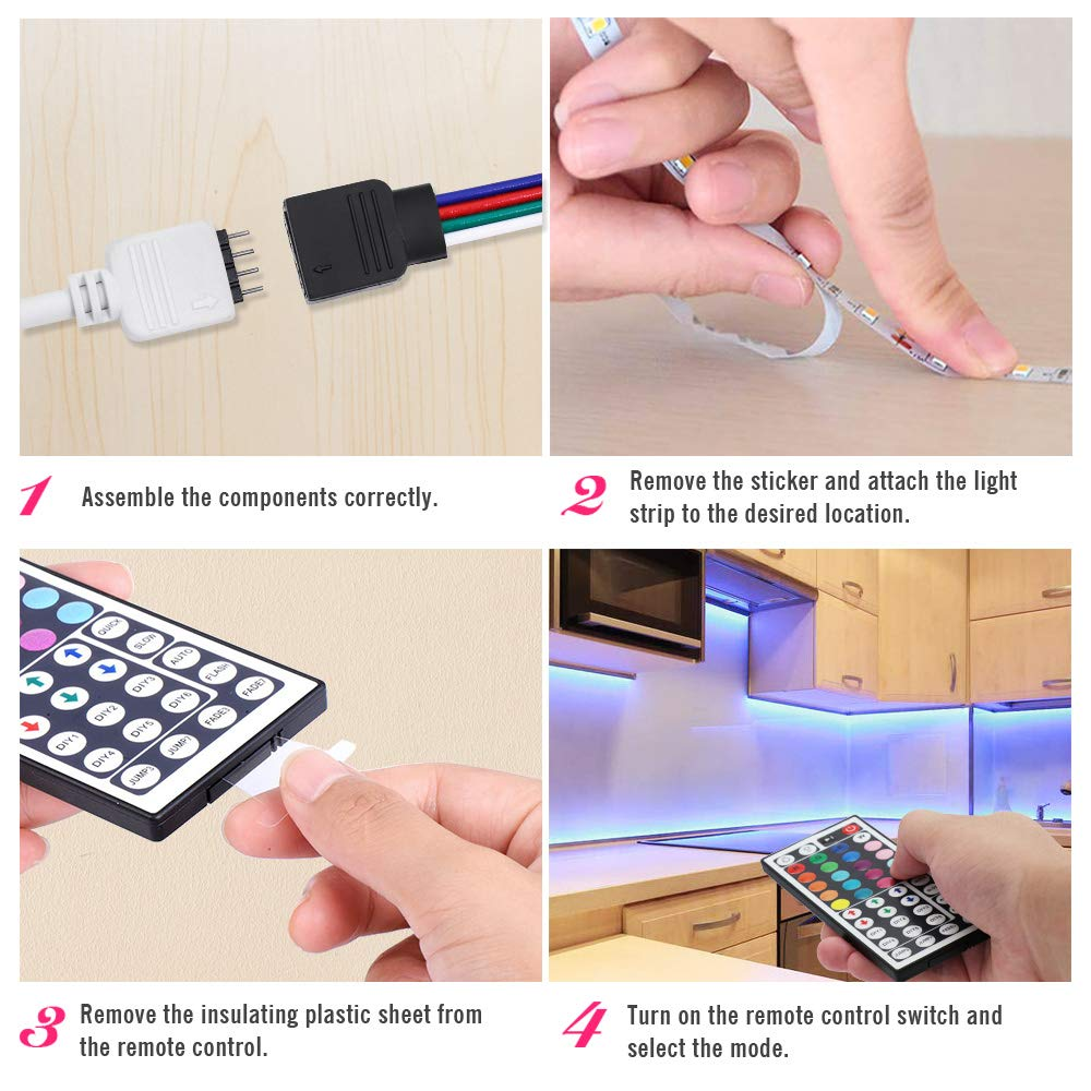DLIANG RGB LED Strip Light Kit 16.4ft Flexible Tape Lights 5050 SMD Color Changing 300 LEDs Waterproof IP65 Rope Light with 44 Keys IR Remote Controller and 12V Power Adapter for Home Kitchen Party