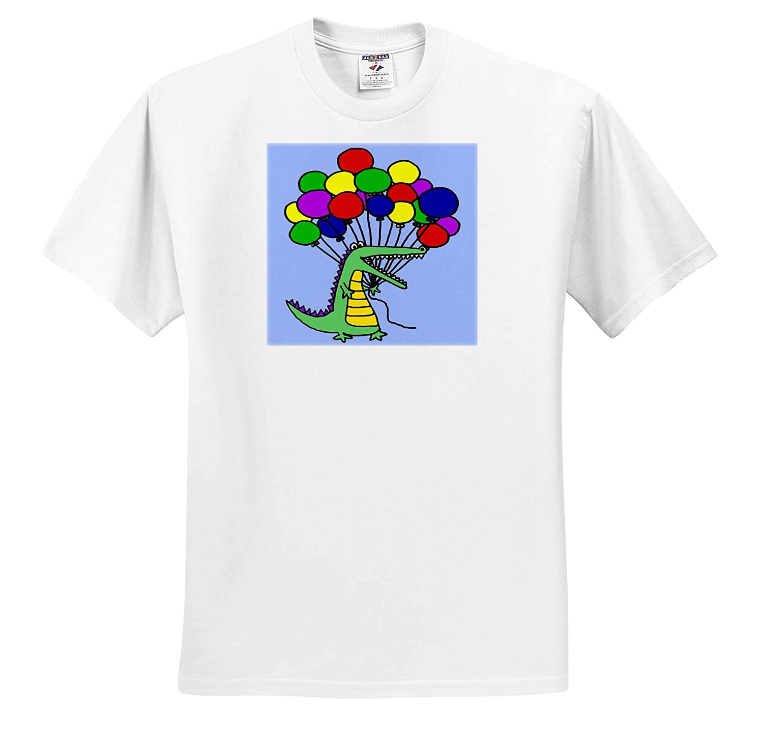ts/_311663 3dRose All Smiles Art Funny Cute Alligator or Crocodile Holding Colorful Balloons Animals Adult T-Shirt XL