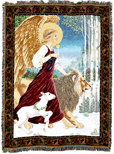 - Pure Country Weavers | Angel Lamb and Lion Woven Tapestry Throw Blanket with Fringe Cotton USA 72x54