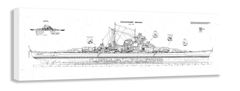 Amazon ww2 battleship bismarck blueprint canvas wall art 44 x amazon ww2 battleship bismarck blueprint canvas wall art 44 x 16 110 x 40cm posters prints malvernweather Images