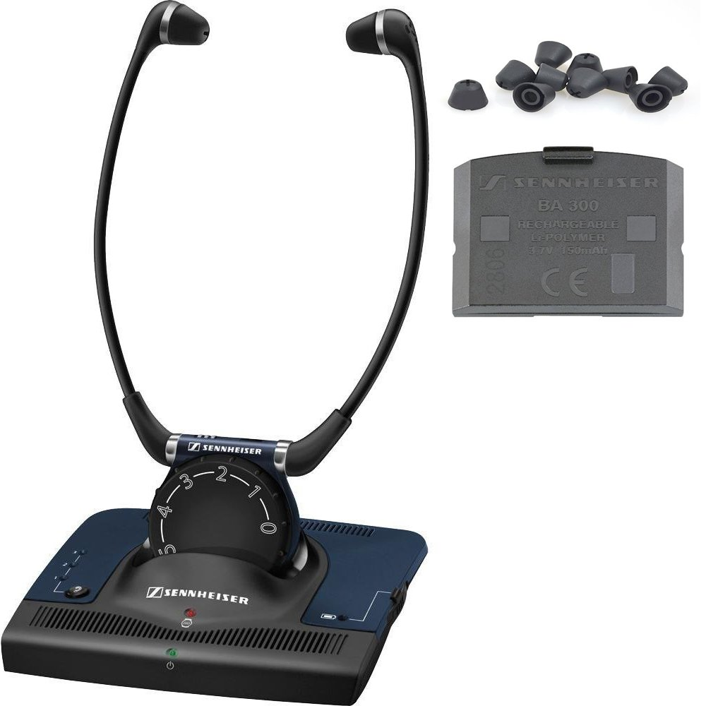 Sennheiser Set 840 RF TV Listening Headphones - Bundle With Free BA300 Rechargeable Lithium ION Battery & Extra Set of RI830 Silicone Replacement Eartips for Set 840TV