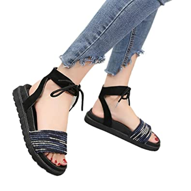 0755d71a7afc Fheaven Women Flat Sandal Mixed Colors Cross Tied Flat Heel Peep Heel  Sandals Beach Shoes (