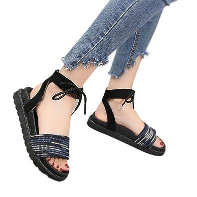 1ac84da4f Fheaven Women Flat Sandal Mixed Colors Cross Tied Flat Heel Peep Heel  Sandals Beach Shoes (