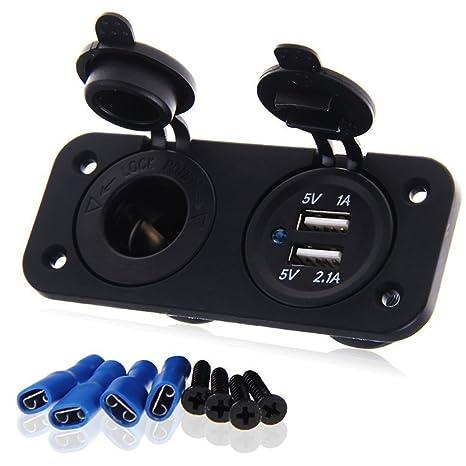 LOVELIFEAST - Adaptador de alimentación con USB para encendedor de cigarrillos del coche (12 V)