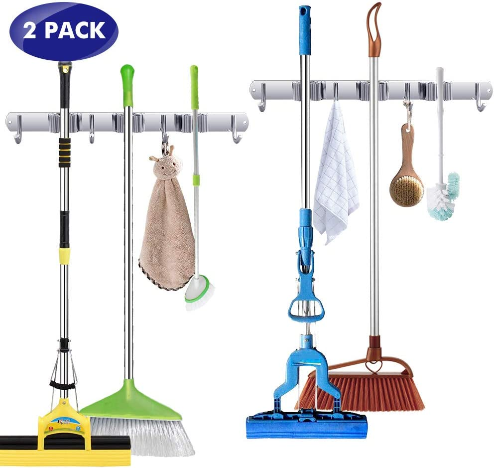Broom Mop Holder Heavy Duty Wall Mount Stainless Steel Wall Mounted Storage Organizer Tools Hanger with 3 Racks 4 Hooks for Lanudry Garage Kitchen Bathroom Closet Office Garden (2 PCS)
