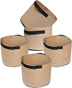 HONGVILLE 5-Pack Grow Bags/Aeration Fabric Pots w/Handles (5-Gallons, Tan)