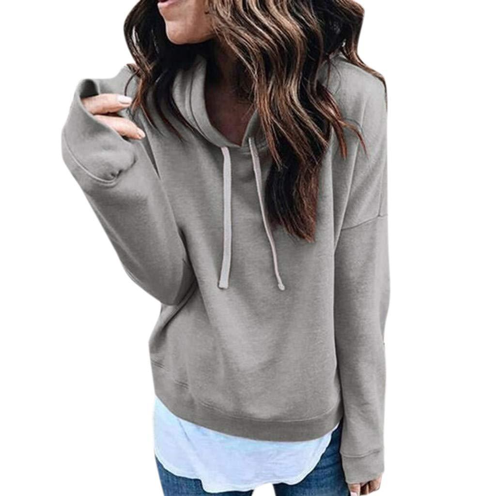 Kanzd Women Blouse Women Long Sleeve Casual Hooded Sweatshirt Pullover Top Blouse (Gray, XL)