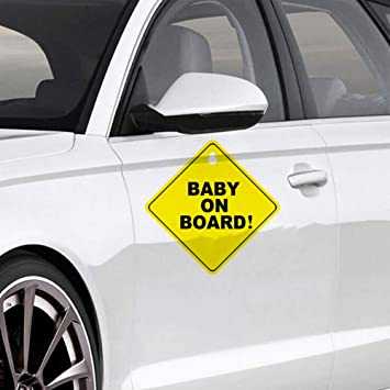 Car Warning Stickers Baby on Board Sign Sticker Sicurezza Dei Veicoli Con Ventose Di Sicurezza Divertente Segno Sticker Per Auto