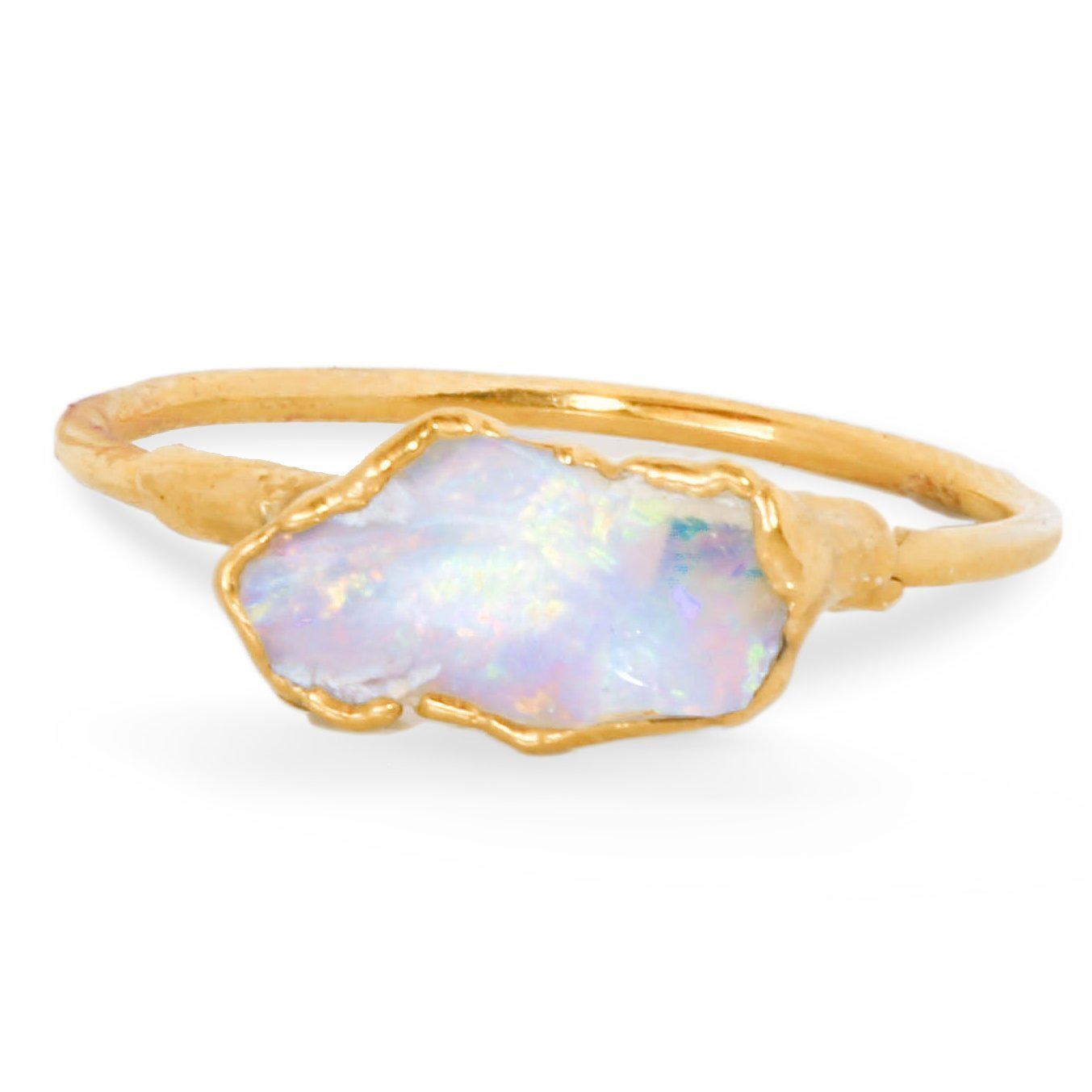 3857e015255bb Raw Opal Ring, Size 5, Yellow Gold, October Birthstone Stacking Ring
