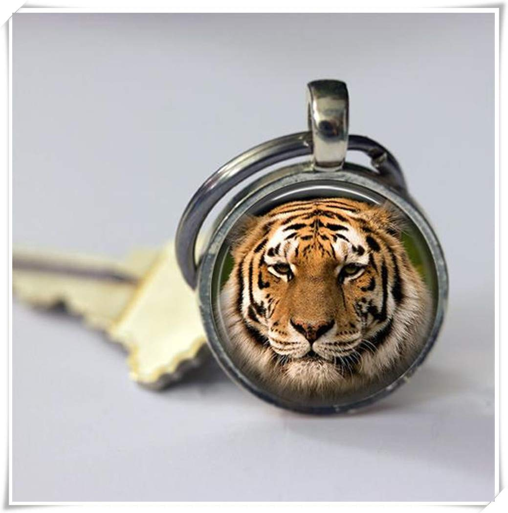 Tiger Keyrings,men's or women's key buckle, pure hand-made,dome glass ornaments,