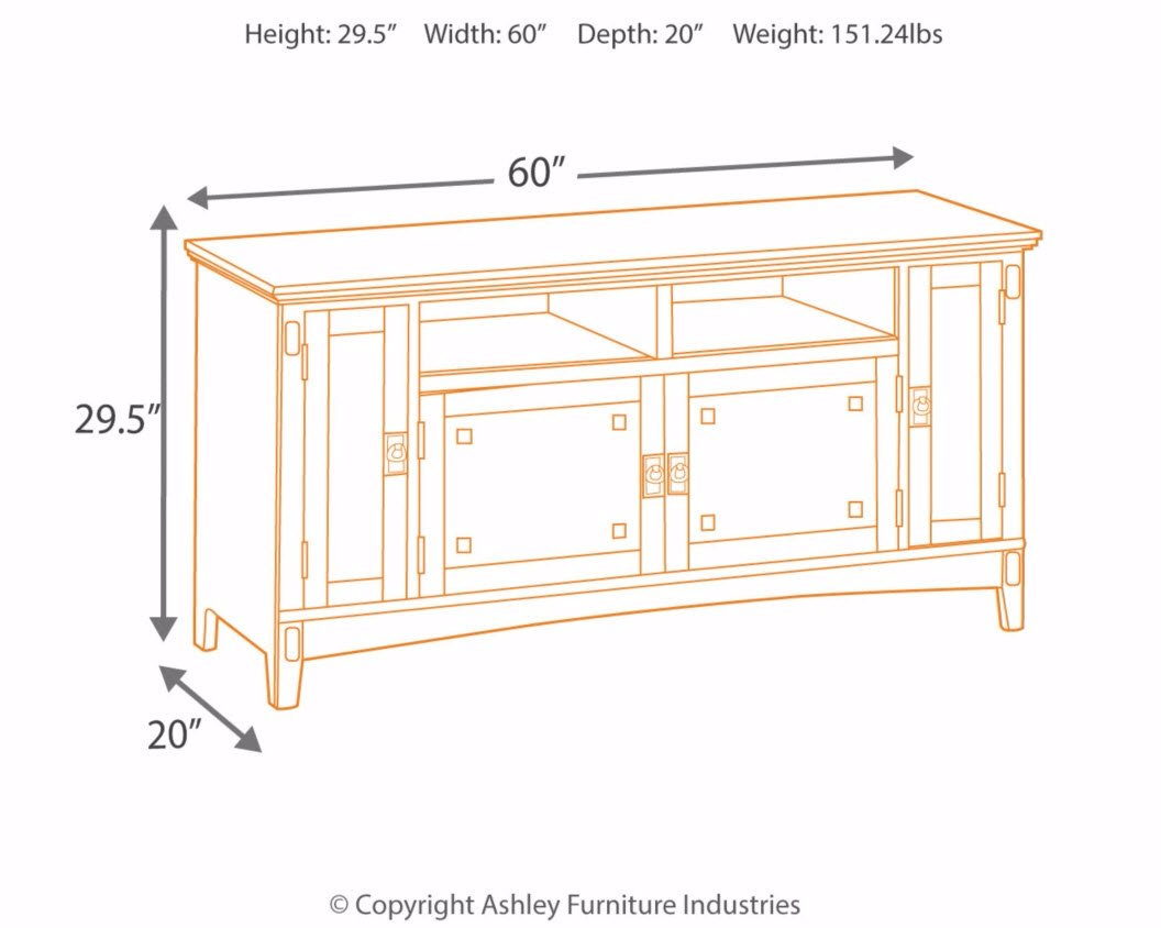 Ashley Furniture Signature Design - Cross Island TV Stand - 60in with 3 Cabinets and 2 Cubbies - Vintage Casual - Medium Brown by Signature Design by Ashley