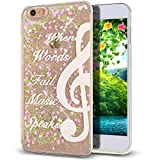 iPhone SE Case,iPhone 5S Case,NSSTAR iPhone 5S Liquid Case,Creative Design Flowing Liquid Floating Bling Glitter Sparkle Pink Love Heart Hard Case for Apple iPhone SE & iPhone 5S 5,Music Notes.