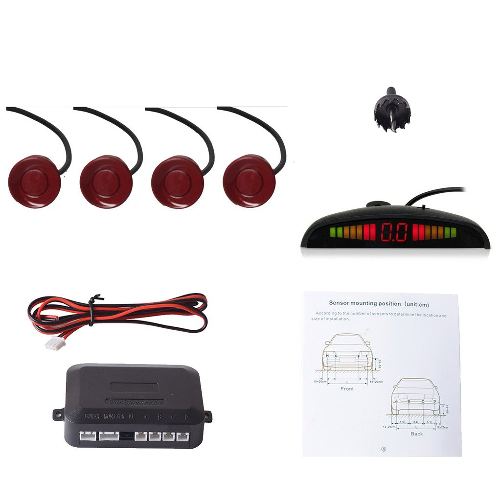 EKYLIN Car Auto Vehicle Reverse Backup Radar System with 4 Parking Sensors Distance Detection + LED Distance Display + Sound Warning (Red Color)