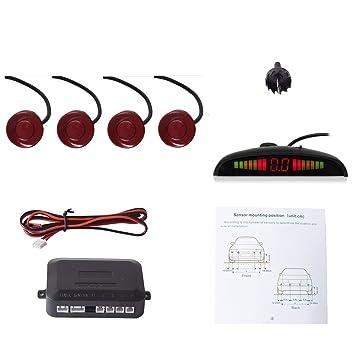 Cocar Coche Auto Vehículo Visual Reserva Radar Sistema con 4 Estacionamiento Sensores + Distancia Info Vídeo Salida + Sonido Advertencia (Fiat Rojo Color): ...