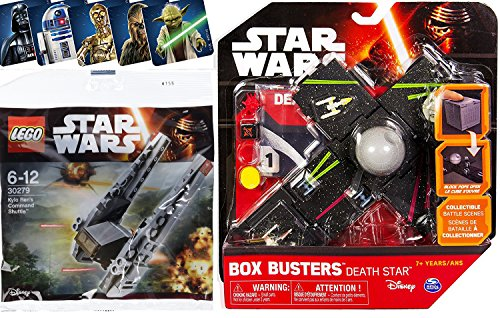 Star Wars Lego & Box Busters Death Star Mini Spaceship Set + Kylo Ren's Command Shuttle Fighter polybag with Bonus Stickers Yoda / Darth Vader / Chewbacca / C3PO & R2D2 toy Bundle