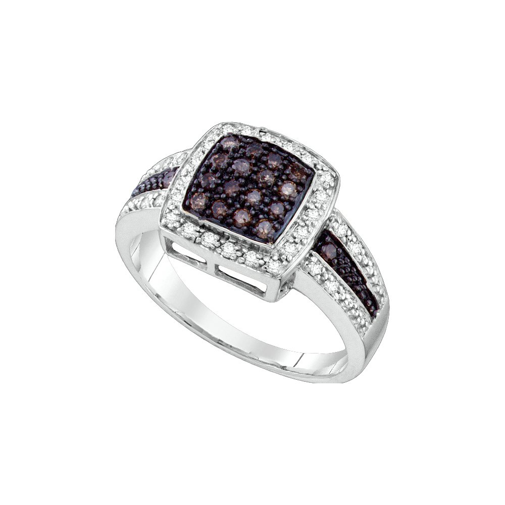 Size 6.5 - 14K White Gold White and Chocolate Brown Diamond Halo Engagement OR Fashion Right Hand Ring Band - Square Princess Shape Center Setting w/ Channel Set Round Diamonds - (1/2 cttw)