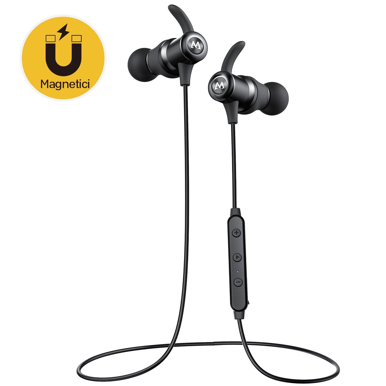 Mpow S10, Auriculares Bluetooth magné ticos IPX7 Deportivos Manos Libres Micró fono, V4.1 In-Ear Inalá mbricos Running Deporte Correr Cancelació n de Ruido CVC 6.0 para iPhone Android(Negro