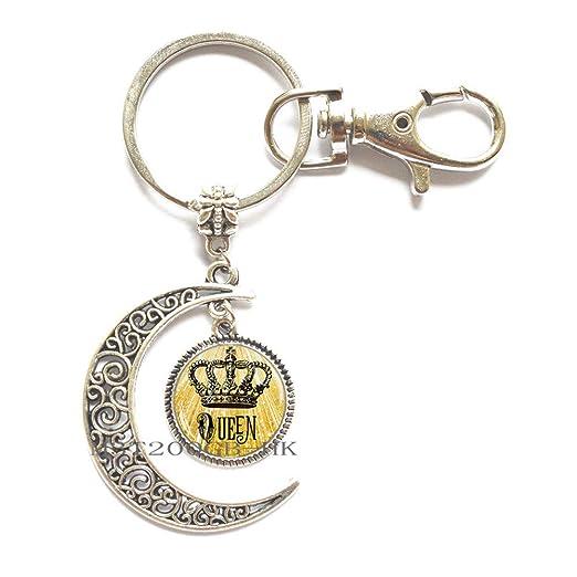 Llavero con corona y reina, llavero con anillo, llavero de ...