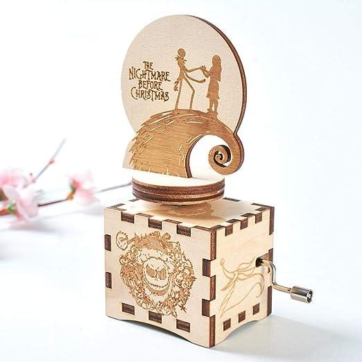 AITOCO Caja de música de Madera Caja de música de la Noche de Halloween Manivela Vintage Caja de música clásica Tallada Antigua Regalo para Navidad/Cumpleaños/Día de San Valentín: Amazon.es: Hogar