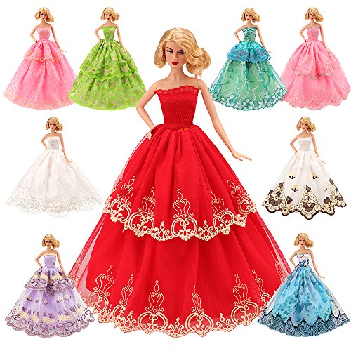 BARWA 5 Pcs Handmade Barbie Doll Clothes Europe CE-EN71 Certified Barbie Accessories for Tug of War Wedding Party Dresses Suit for 11.5 inch Dolls