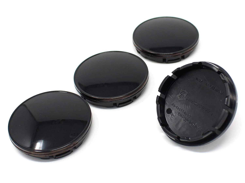 Finest Folia 4X Nabendeckel 56mm ABS Kunststoff mit Alukappe in Schwarz eloxiert