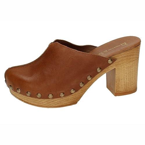 54df8009c14 DLIRO 825 Zueco Piel Y Madera Mujer Sandalias TACÓN Cuero 36  Amazon.es   Zapatos y complementos