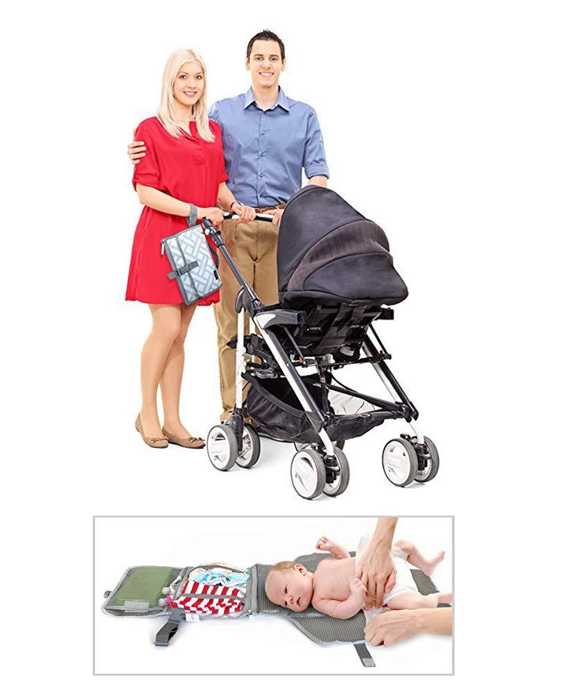 Chenqi Bebé Portátiles cambiadores viaje Bolsas pañales Bebés Impermeable Pañal Clutch Bolsillos desmontables con cremallera Niños pequeños Recién nacidos: ...