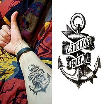 Oottati Pequeño Lindo Tatuaje Temporal Ancla Aweich (2 Hojas ...