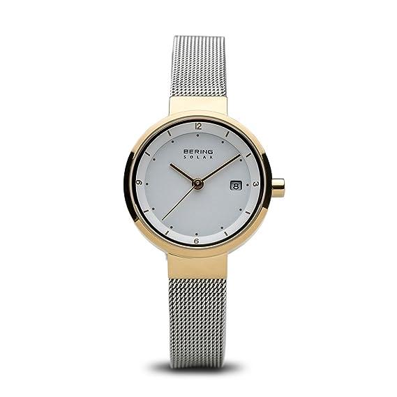 BERING Reloj Analógico para Mujer de Energía Solar con Correa en Acero Inoxidable 14426-010: Amazon.es: Relojes