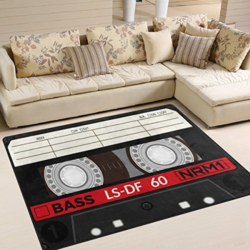 (ALAZA Retro Audio Cassette Music Note Area Rug Rugs for Living Room Bedroom 7' x)
