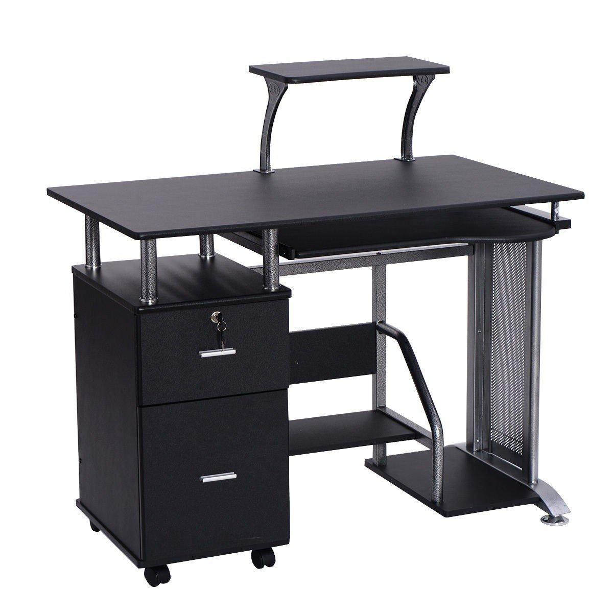 Black Computer Desk with Printer Shelf by Apontus (Image #4)